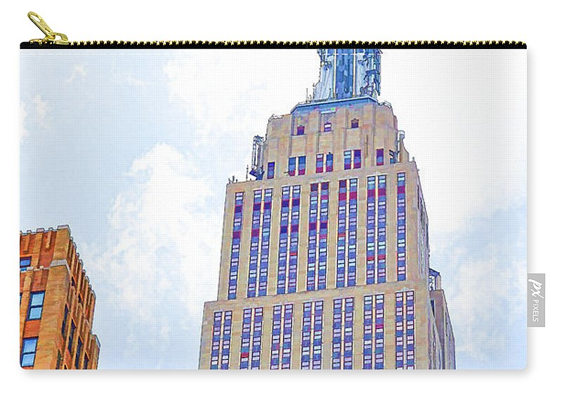 The Empire State Building Carry-all Pouch featuring the painting The Empire State Building 2 by Jeelan Clark