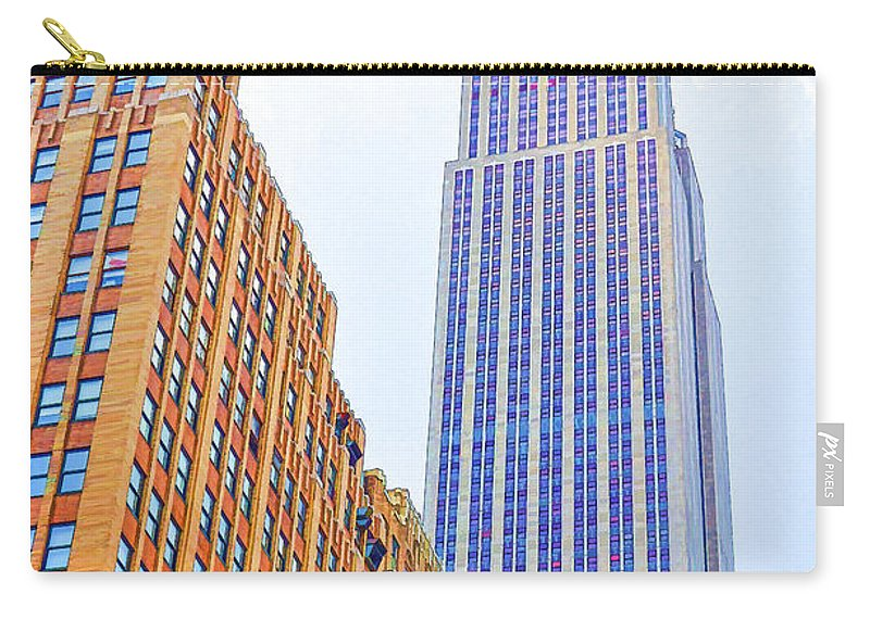 The Empire State Building Carry-all Pouch featuring the painting The Empire State Building 4 by Jeelan Clark