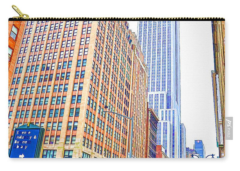 The Empire State Building Carry-all Pouch featuring the painting The Empire State Building 5 by Jeelan Clark