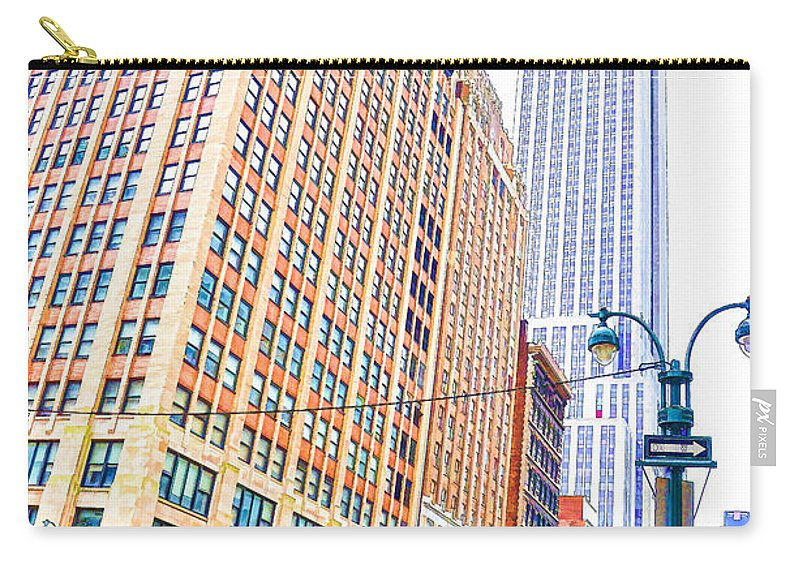 The Empire State Building Carry-all Pouch featuring the painting The Empire State Building 6 by Jeelan Clark