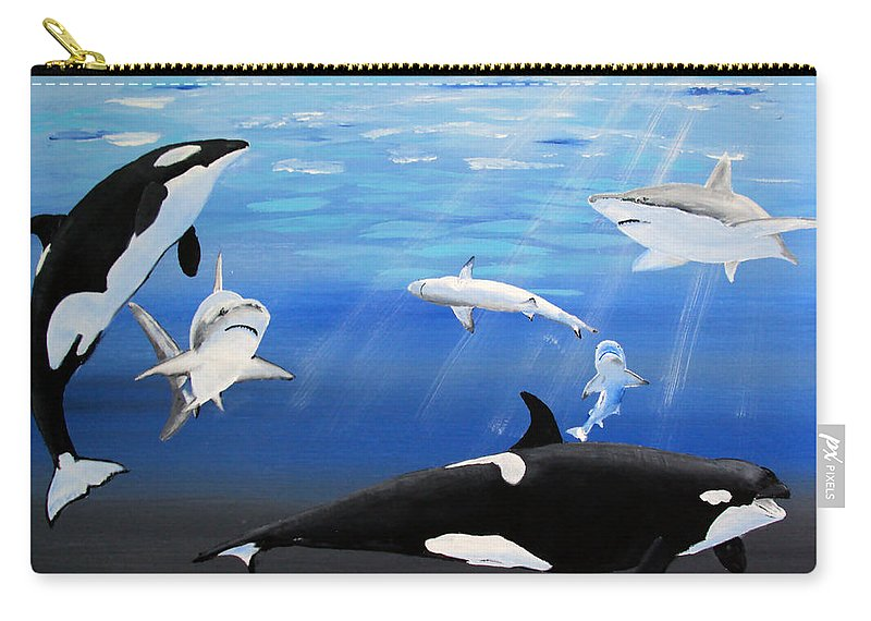 Killer Whales Carry-all Pouch featuring the painting The Encounter by Luis F Rodriguez