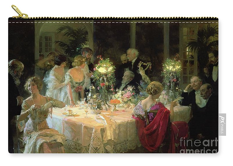 The Carry-all Pouch featuring the painting The End of Dinner by Jules Alexandre Grun