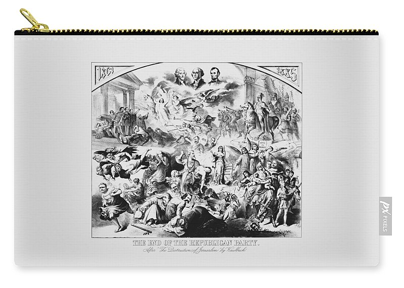 George Washington Carry-all Pouch featuring the mixed media The End Of The Republican Party by War Is Hell Store