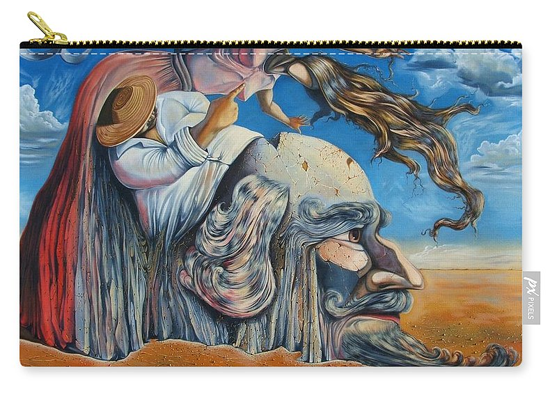 Surrealism Carry-all Pouch featuring the painting The Eternal Obsession Of Don Quijote by Darwin Leon