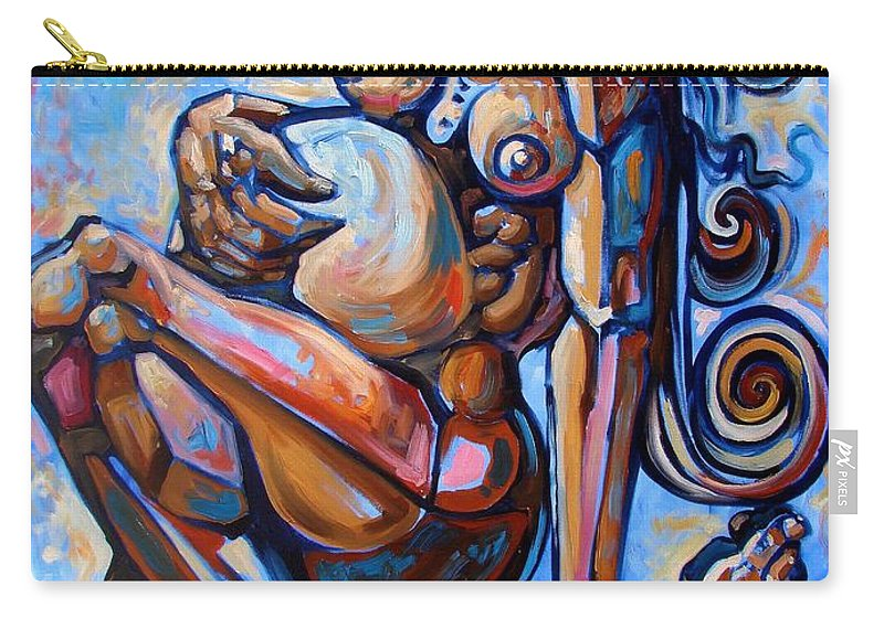 Surrealism Carry-all Pouch featuring the painting The Expecting Muse by Darwin Leon