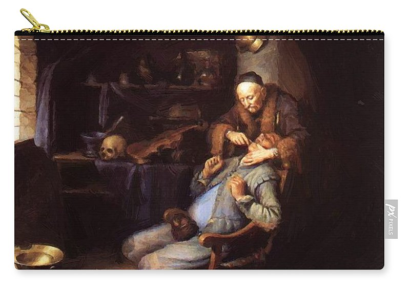 The Carry-all Pouch featuring the painting The Extraction Of Tooth 1635 by Dou Gerrit