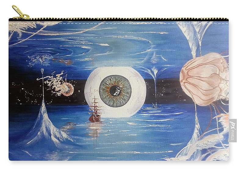 Fantasy Carry-all Pouch featuring the painting The Eye by Elena Ivanina