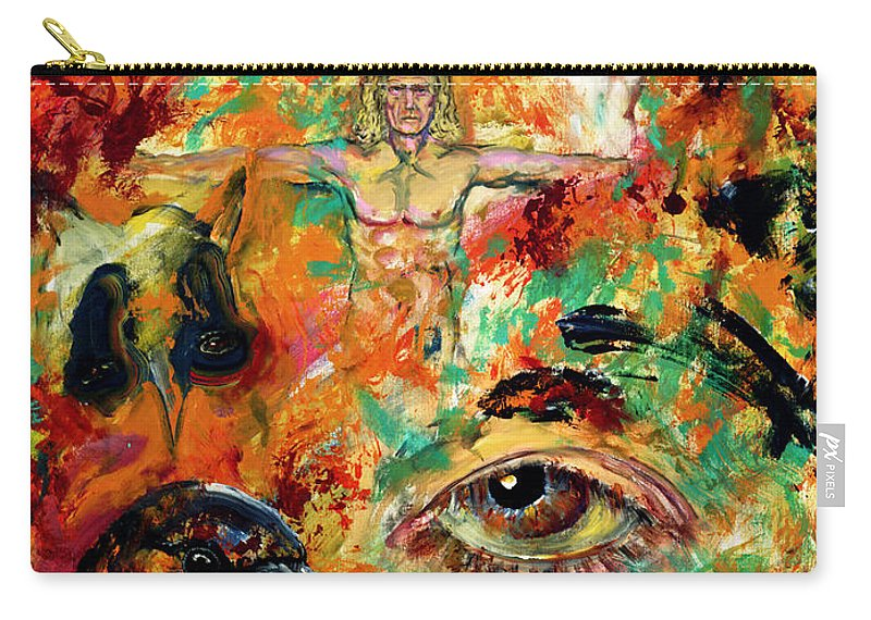 Vitruvian Man Carry-all Pouch featuring the painting The Eye Of Art by Peter Bonk