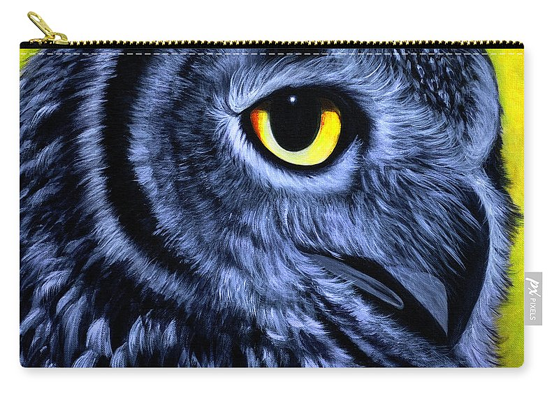 Owl Series Acrylic Paintings Carry-all Pouch featuring the painting The Eye Of The Owl -the Goobe Series by Pavitha Ashwin