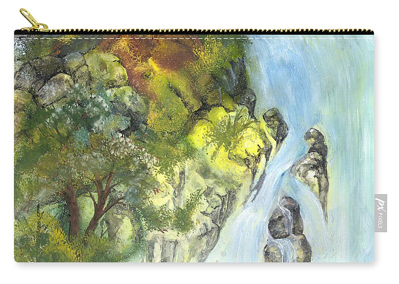 Waterfall Carry-all Pouch featuring the painting The Falls by Sherry Shipley