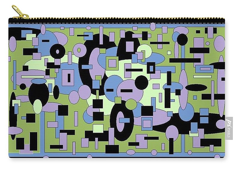 Digital Black Green Artwork Carry-all Pouch featuring the digital art The Field by Jordana Sands