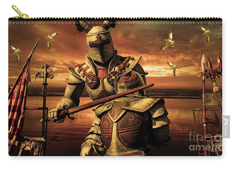 The Final Battle Carry-all Pouch featuring the mixed media The Final Battle by KaFra Art