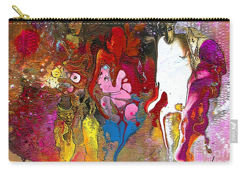 Miki Carry-all Pouch featuring the painting The First Wedding by Miki De Goodaboom