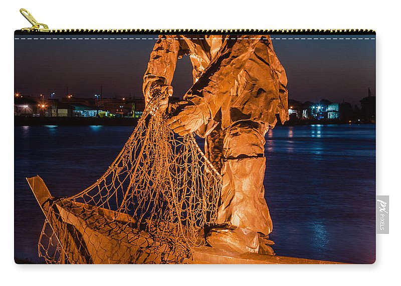 The Fisherman Carry-all Pouch featuring the photograph The Fisherman After Nightfall by Greg Nyquist