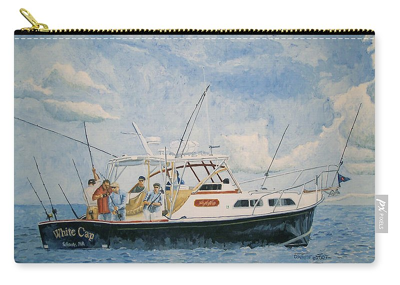 Fishing Carry-all Pouch featuring the painting The Fishing Charter - Cape Cod Bay by Dominic White