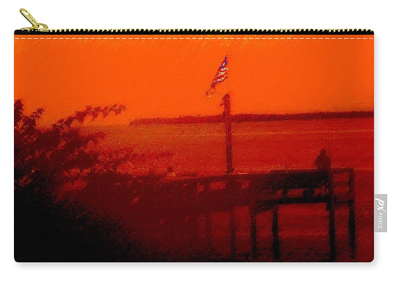 Flag Carry-all Pouch featuring the photograph The Flag Flying Free In Florida by Ian MacDonald
