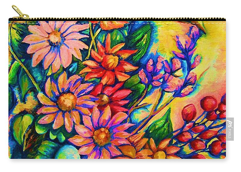 Beautiful Flowers.floral Bouquet Carry-all Pouch featuring the painting The Flower Dance by Carole Spandau