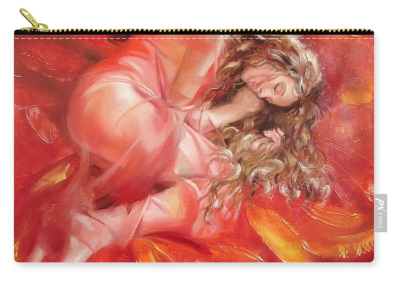 Oil Carry-all Pouch featuring the painting The Flower Paradise by Sergey Ignatenko