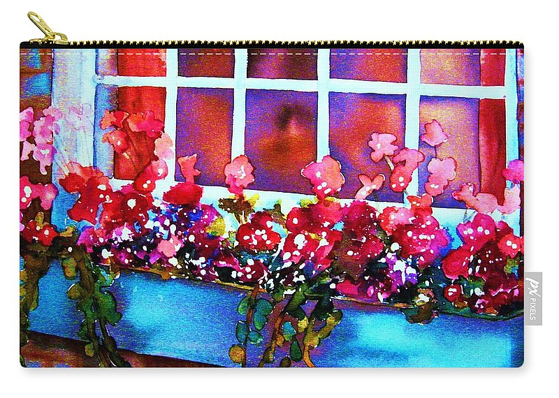 Flowerbox Carry-all Pouch featuring the painting The Flowerbox by Carole Spandau