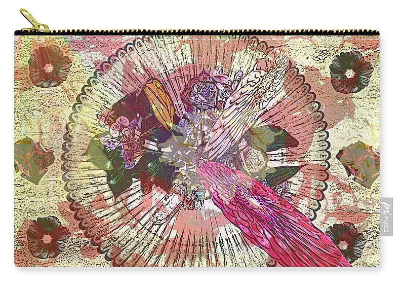 Flowers Carry-all Pouch featuring the digital art The Flowerclock by Helmut Rottler