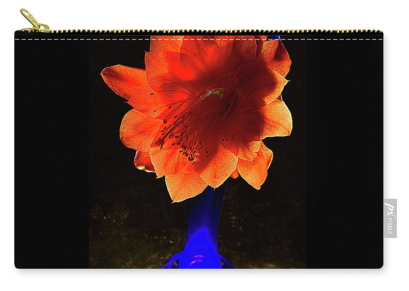 Floral Carry-all Pouch featuring the photograph The Flower Of Cactus In A Blue Vase. by Alexander Vinogradov