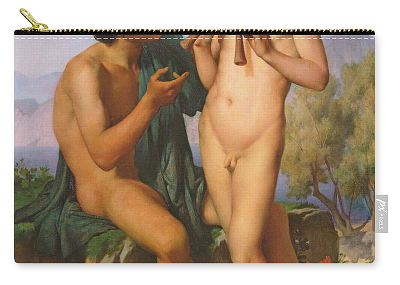 Boy Carry-all Pouch featuring the painting The Flute Lesson by Jules Elie Delaunay