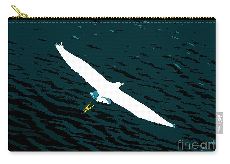 Great White Egret Carry-all Pouch featuring the photograph The Flying Egret by David Lee Thompson