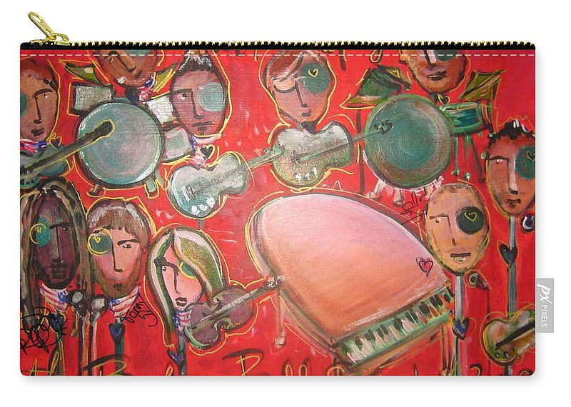 The Fray Carry-all Pouch featuring the painting The Fray And The Flobots by Laurie Maves ART
