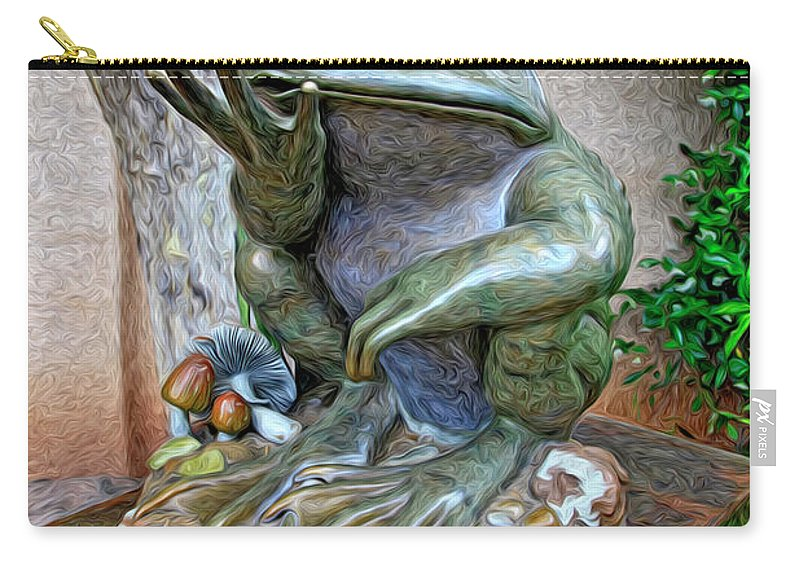 Fine Art Frog Photography. Frog Art. Wall Art Photography. Mixed Media Photography. Mixed Media Note Cards. Mixed Media Greeing Cards. Colord Frogs. Painted Frogs. Wall Art Frogs. Fine Art Frogs. Frogs. Fish. Water. Ponds. Frog Ponds. Water Fountion. Trees. Wall. Carry-all Pouch featuring the photograph The Frog by James Steele
