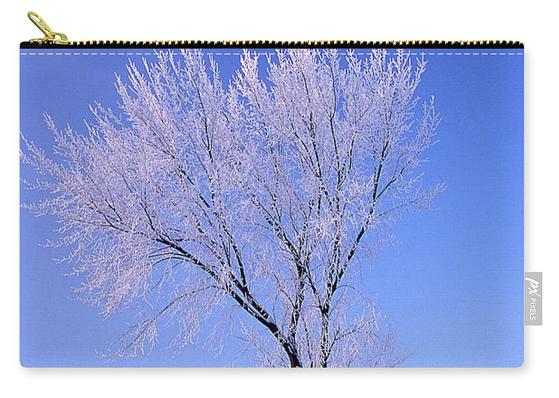 Psalm 147:16 Carry-all Pouch featuring the photograph The Frost Like Ashes by Ward Thurman