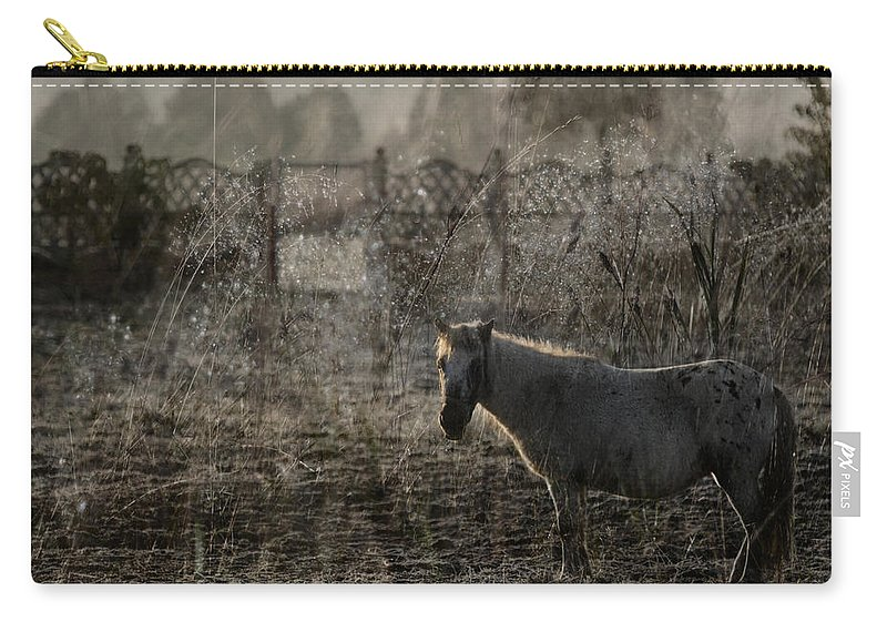 Pferd Carry-all Pouch featuring the photograph The Frosty Morning by Angel Ciesniarska