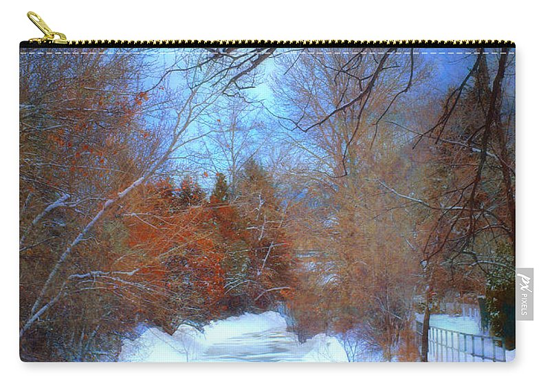 Snow Carry-all Pouch featuring the photograph The Frozen Creek by Tara Turner