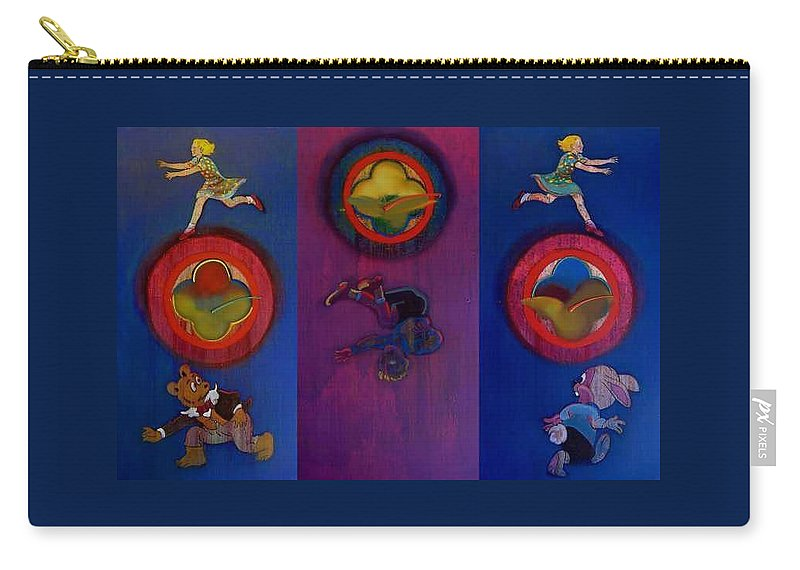 The Drums Of The Fruit Machine Stop At Random. Triptych Carry-all Pouch featuring the painting The Fruit Machine Stops II by Charles Stuart
