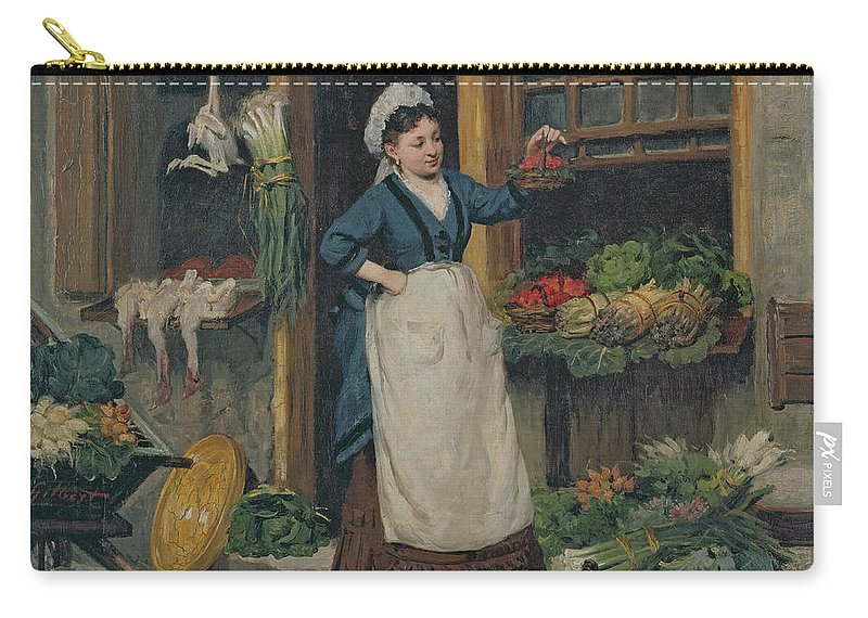 The Carry-all Pouch featuring the painting The Fruit Seller by Victor Gabriel Gilbert