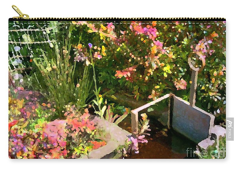Flowers Rural Irrigation Furrow Carry-all Pouch featuring the digital art The Furrow by Sandra Nortje
