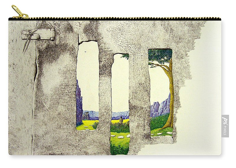 Imaginary Landscape. Carry-all Pouch featuring the painting The Garden by A Robert Malcom