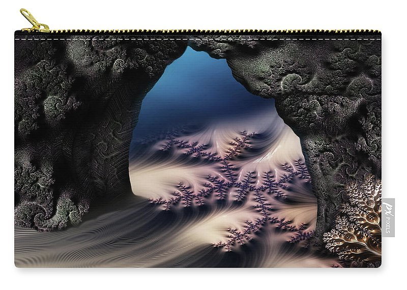 Carry-all Pouch featuring the mixed media The Gate In The Grotto by Steven Marcus