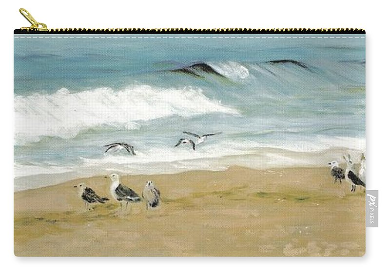 Beach Carry-all Pouch featuring the painting The Gathering by Deborah Butts
