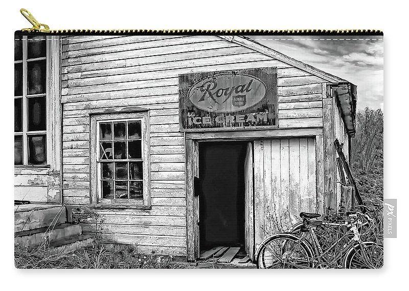 Small Town Carry-all Pouch featuring the photograph The General Store Bw by Steve Harrington