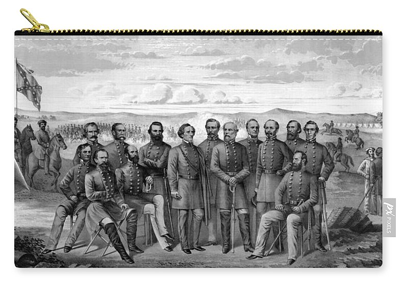 Civil War Carry-all Pouch featuring the mixed media The Generals Of The Confederate Army by War Is Hell Store