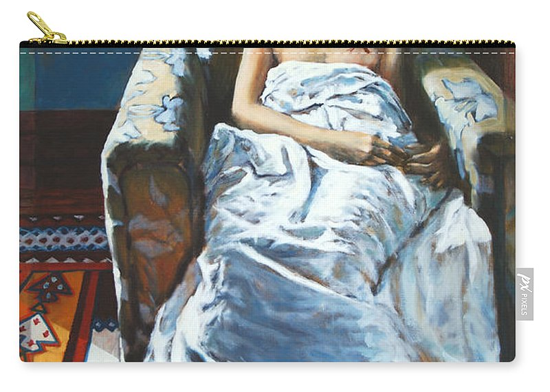 Window Carry-all Pouch featuring the painting The Girl In The Chair by Rick Nederlof