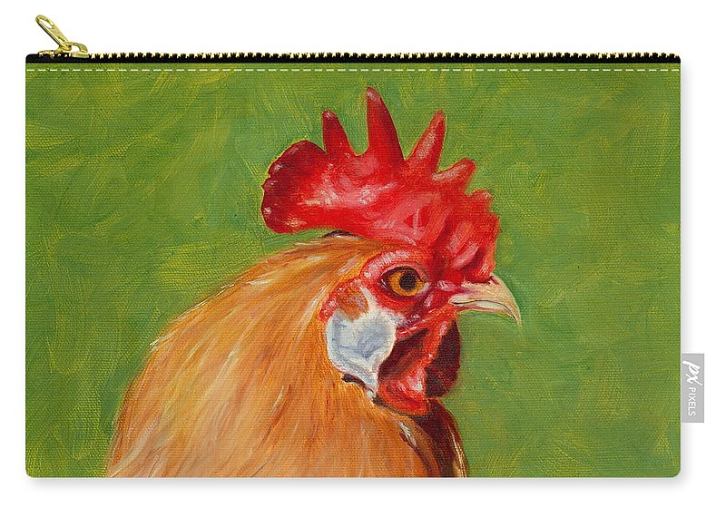 Rooster Carry-all Pouch featuring the painting The Gladiator by Paula Emery