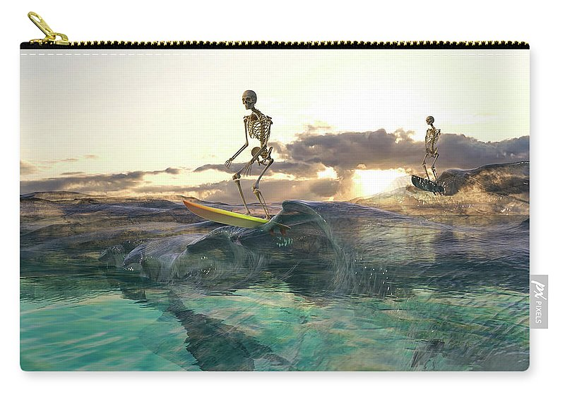 Skeleton Carry-all Pouch featuring the digital art The Glass Ocean by Betsy Knapp