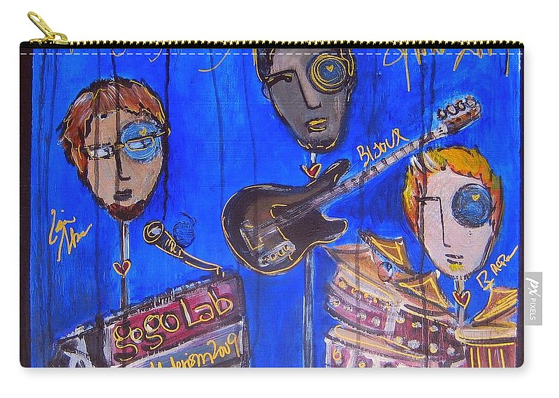 Gogolab Carry-all Pouch featuring the painting The Gogolab Painted Live by Laurie Maves ART