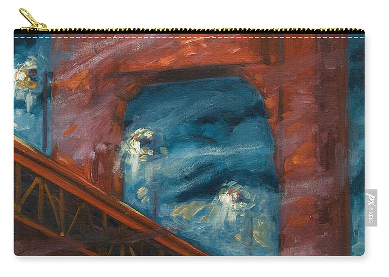 Bridge Carry-all Pouch featuring the painting The Golden Gate by Rick Nederlof
