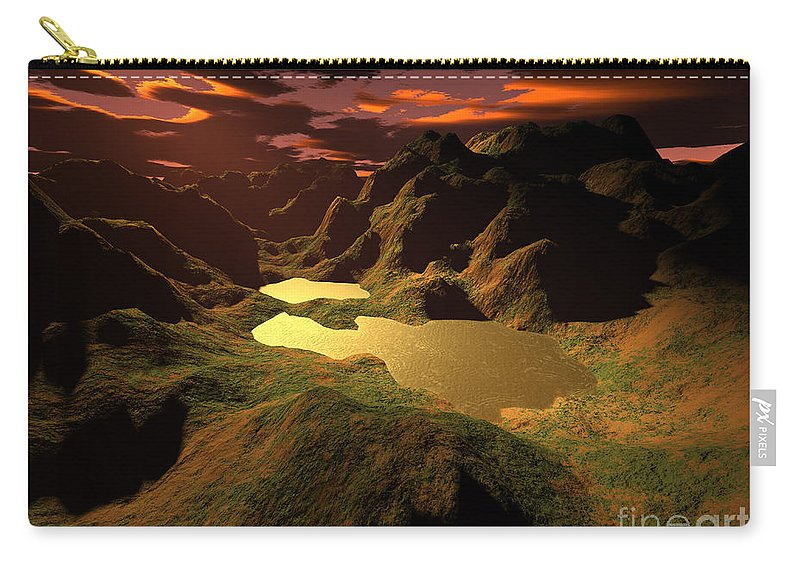 Digital Art Carry-all Pouch featuring the digital art The Golden Lake by Gaspar Avila