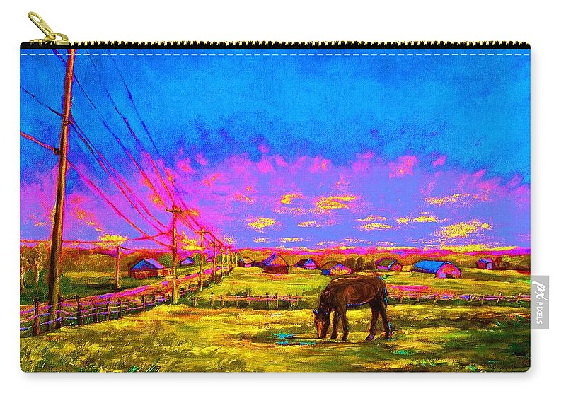 Western Art Carry-all Pouch featuring the painting The Golden Meadow by Carole Spandau