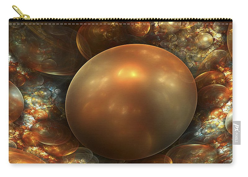 Fractal Art Carry-all Pouch featuring the digital art The Golden Nest by Amorina Ashton