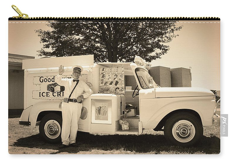 The Carry-all Pouch featuring the photograph The Good Humor Man In Sepia by Bill Cannon