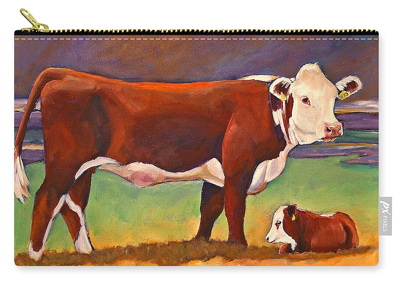 Folk Art Carry-all Pouch featuring the painting The Good Mom Folk Art Hereford Cow And Calf by Toni Grote